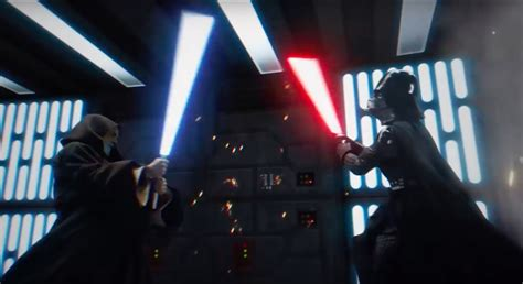 Watch Obi-Wan and Darth Vader's final duel become the